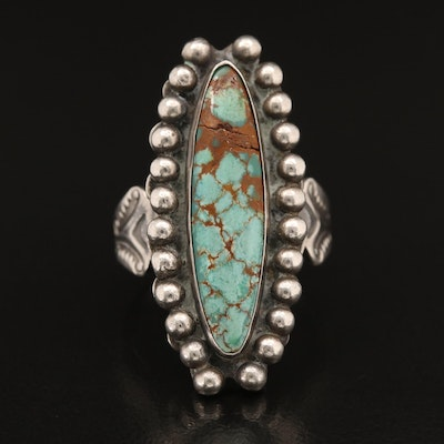 Western Sterling Turquoise Navette Ring