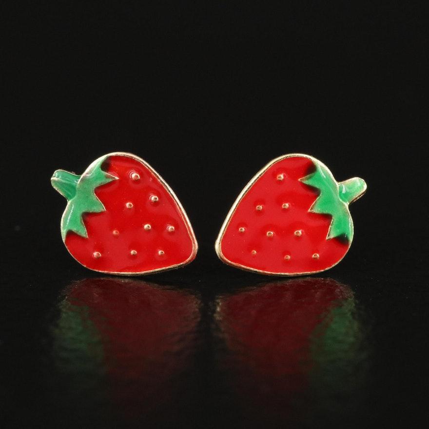 14K Strawberry Stud Earrings