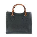 Gucci Diana Bamboo Tote in Black Grained Leather