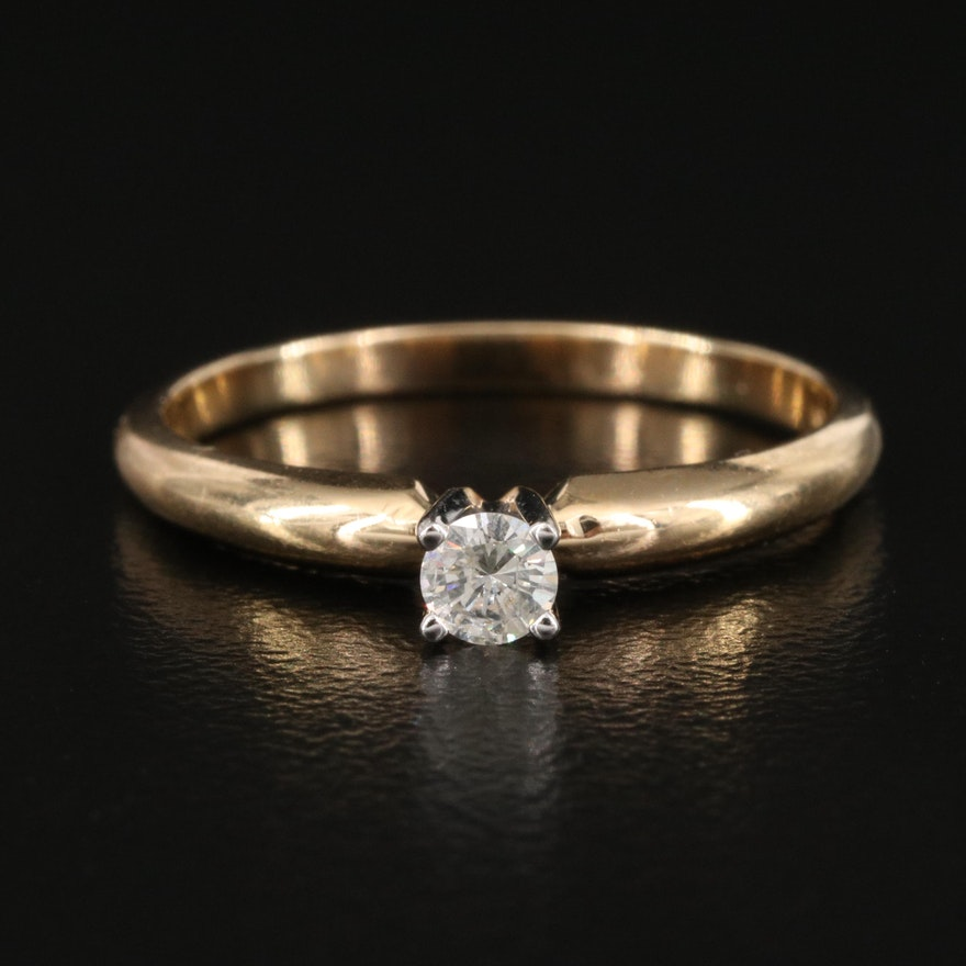 14K 0.12 CT Diamond Solitaire Ring