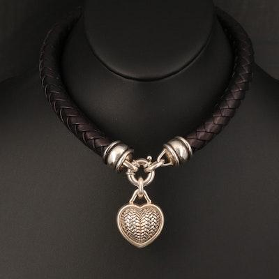 1996 Barry Kieselstein-Cord Sterling Basket Weave Puff Heart Charm Necklace