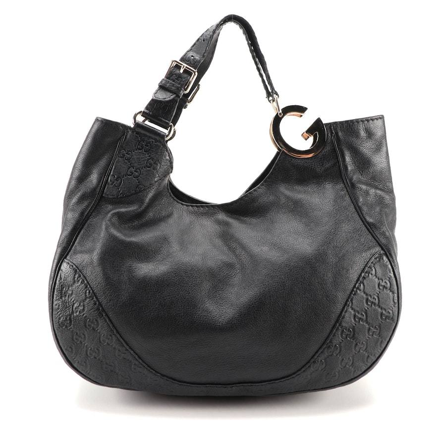 Gucci Charlotte Hobo Bag in Black Guccissima and Grained Leather