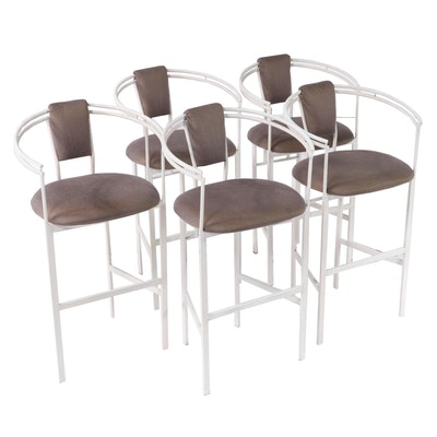 Five Minson Post Modern Painted Metal Bar Stools, Late 20th Century