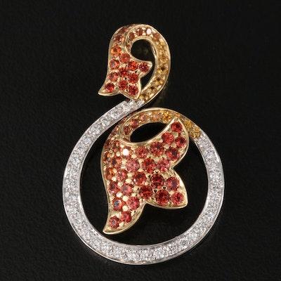 18K Diamond and Sapphire Floral Pendant