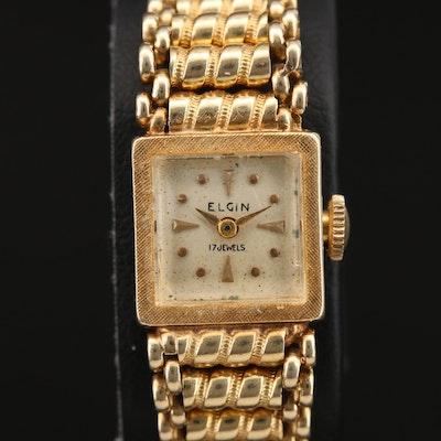Vintage Elgin 14K Yellow Gold Fancy Link Bracelet Wristwatch
