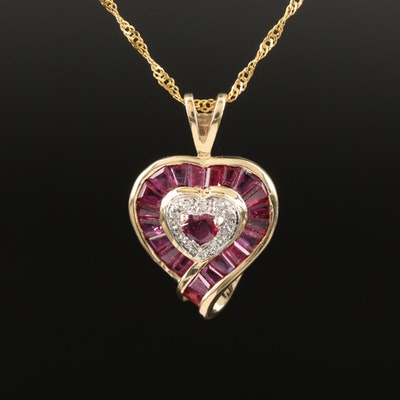 10K Ruby and Diamond Heart Pendant on 14K Chain