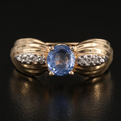 14K 1.02 CT Sapphire and Diamond Ring with Fluted Shoulders