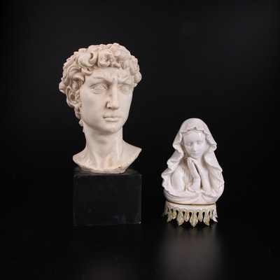 """Amilcare Santini Replica Resin Bust After Michelangelo's """"David"""" and More"""