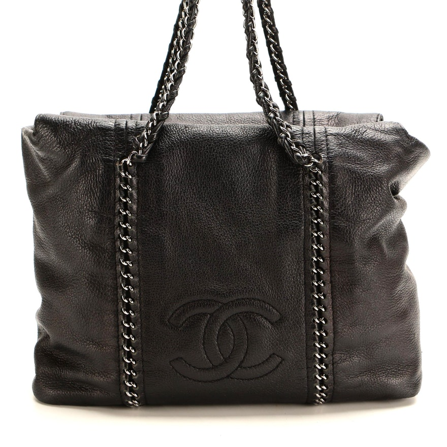 Chanel Black Grained Leather Chain Shoulder Bag with CC Logo