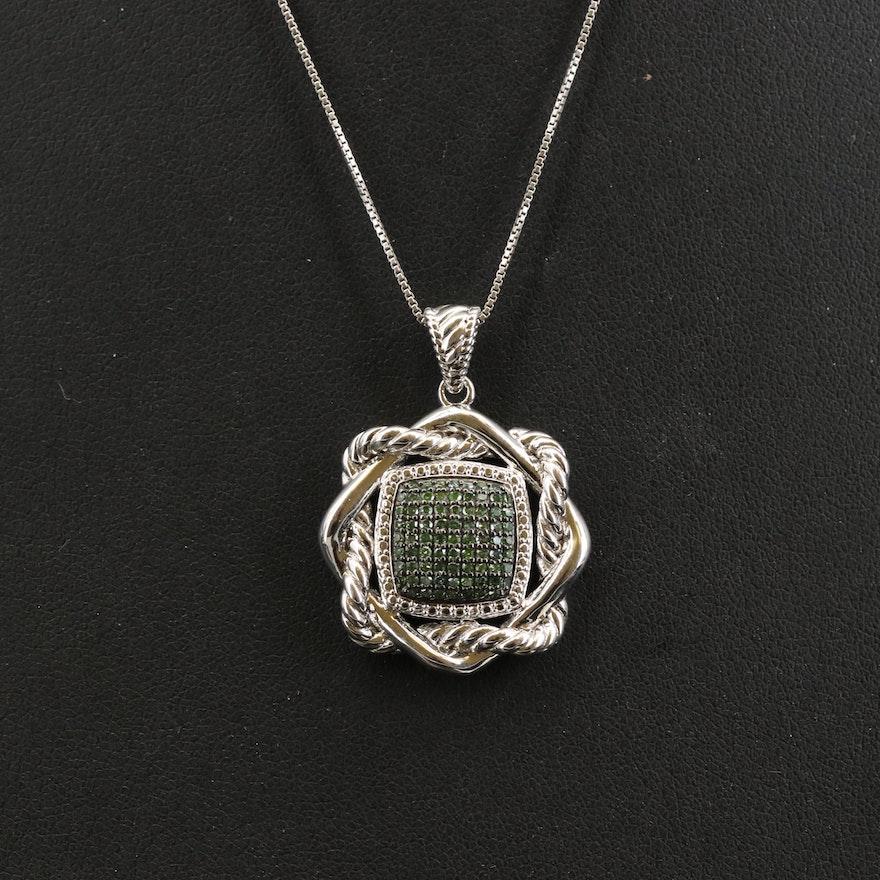 Sterling Diamond Cluster Pendant Necklace
