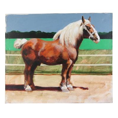 Joseph Daniel Fiedler Horse Acrylic Painting, Circa 1980