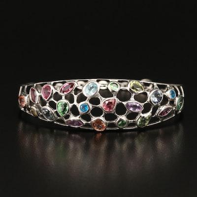 Sterling Apatite and Gemstone Openwork Bracelet