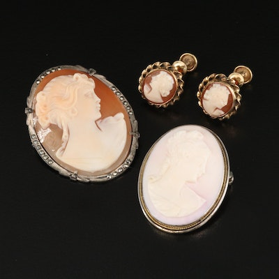 Vintage 800 Silver Shell Cameo Converter Brooches with Cameo Earrings