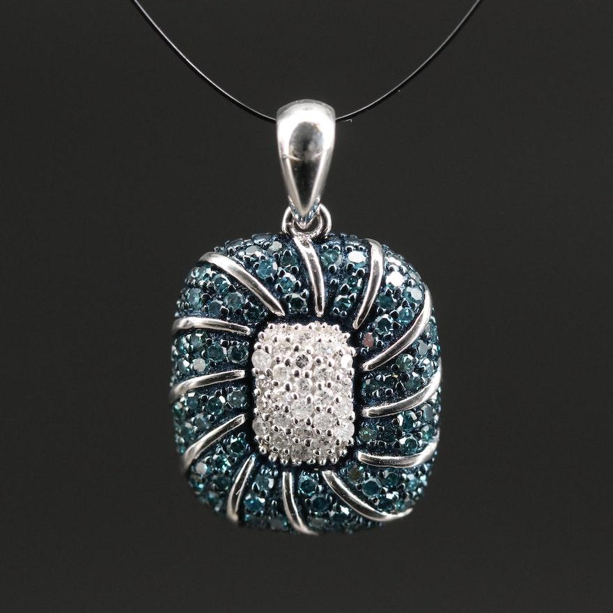 Sterling Diamond Cluster Pendant