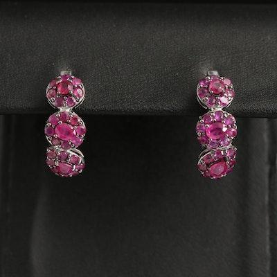 Sterling Ruby Hoop Earrings