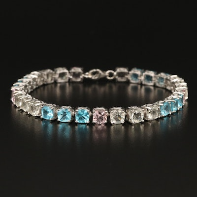 Sterling Morganite, Apatite and Orthoclase Line Bracelet
