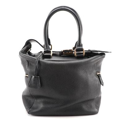 Céline Black Grained Leather Zip Top Box Satchel