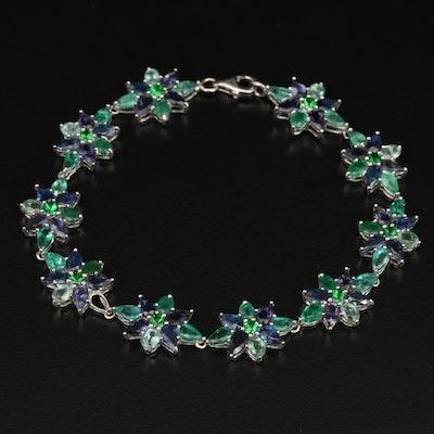 Sterling Silver Emerald, Sapphire and Tsavorite Bracelet