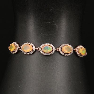 Sterling Silver Opal and Topaz Bolo Bracelet