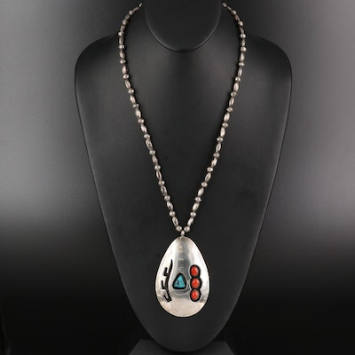 Vintage Freddie Wero Navajo Diné Sterling Turquoise and Coral Pendant Necklace