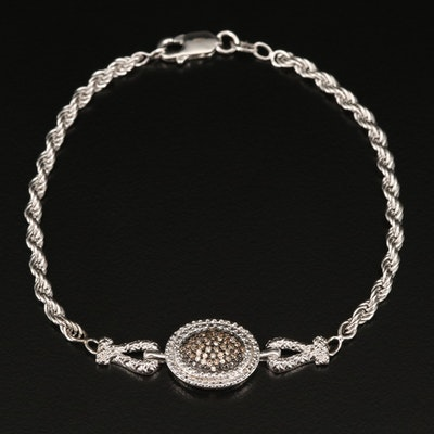 Sterling Silver Diamond French Rope Chain Bracelet