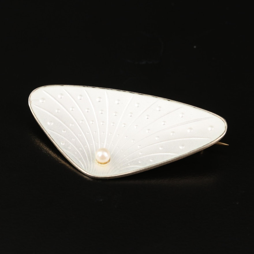 Antique Sterling Pearl and Guilloché Enamel Brooch