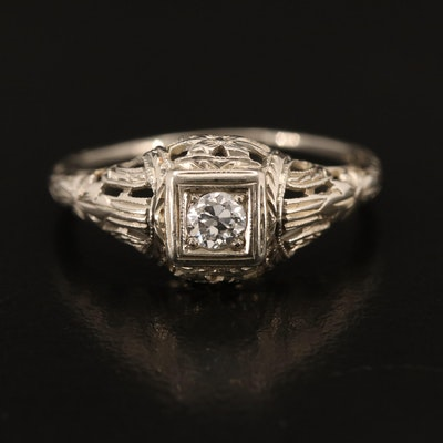 Edwardian 0.16 CT 18K Diamond Solitaire Ring