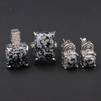 Sterling Snowflake Obsidian and Topaz Jewelry