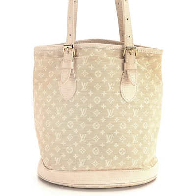 Louis Vuitton Bucket Bag in Beige Mini Lin and Leather Trim
