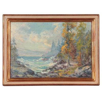 Elmar S. Berge Landscape Oil Painting, Mid-20th Century