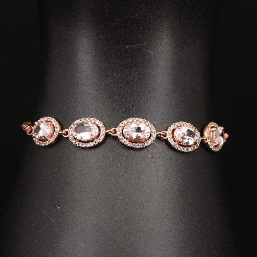 Sterling Silver Morganite and Topaz Bolo Bracelet