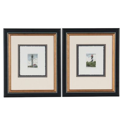 """Lighthouse Hand-Colored Etchings """"St. Augustine"""" and """"Cape Henry"""""""