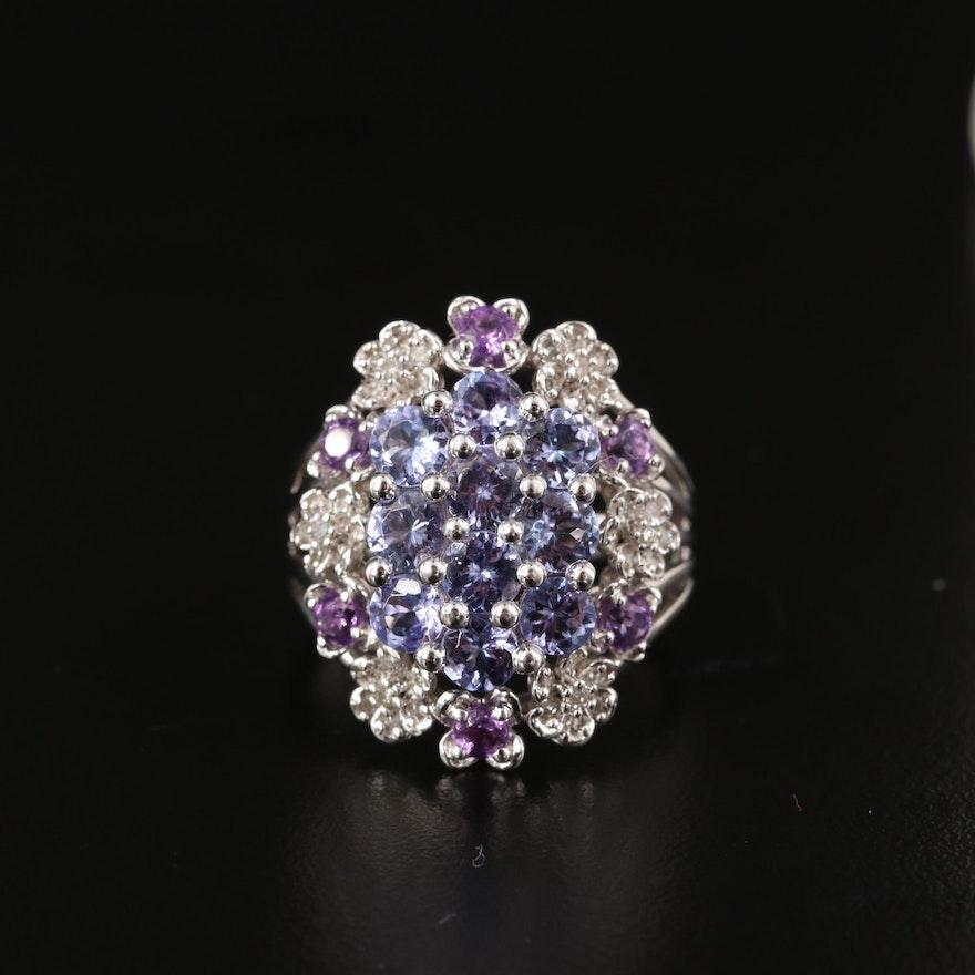 Sterling Tanzanite, Diamond and Gemstone Cluster Ring