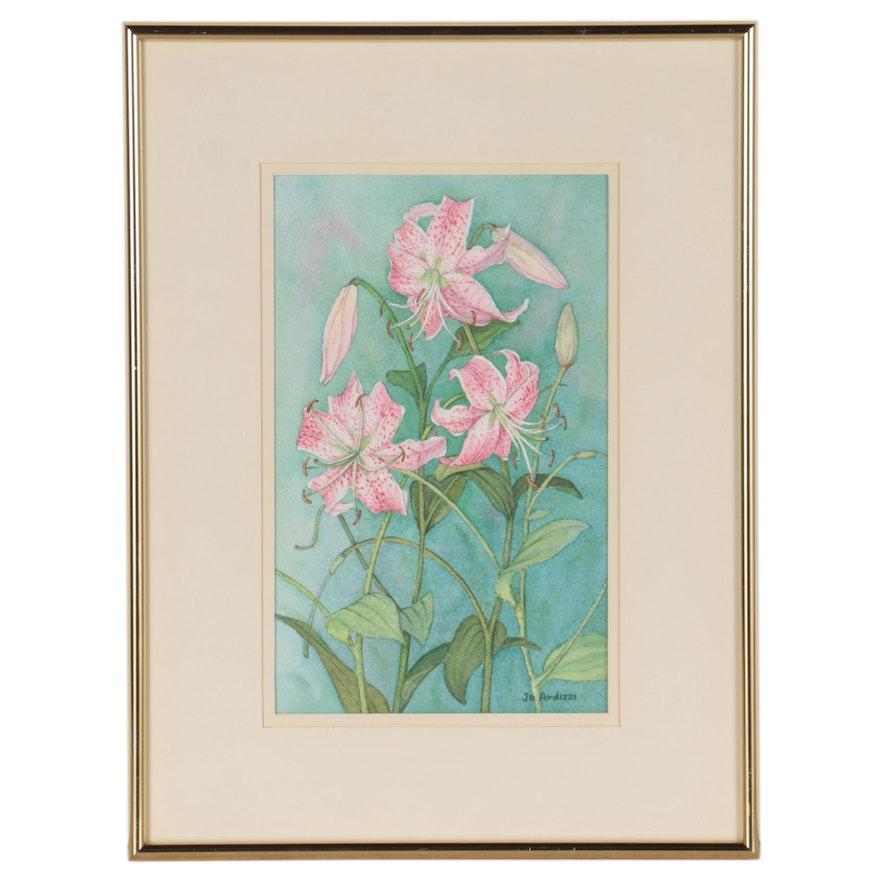 """Jo Ardizzi Watercolor Painting """"Pink Lilies"""""""