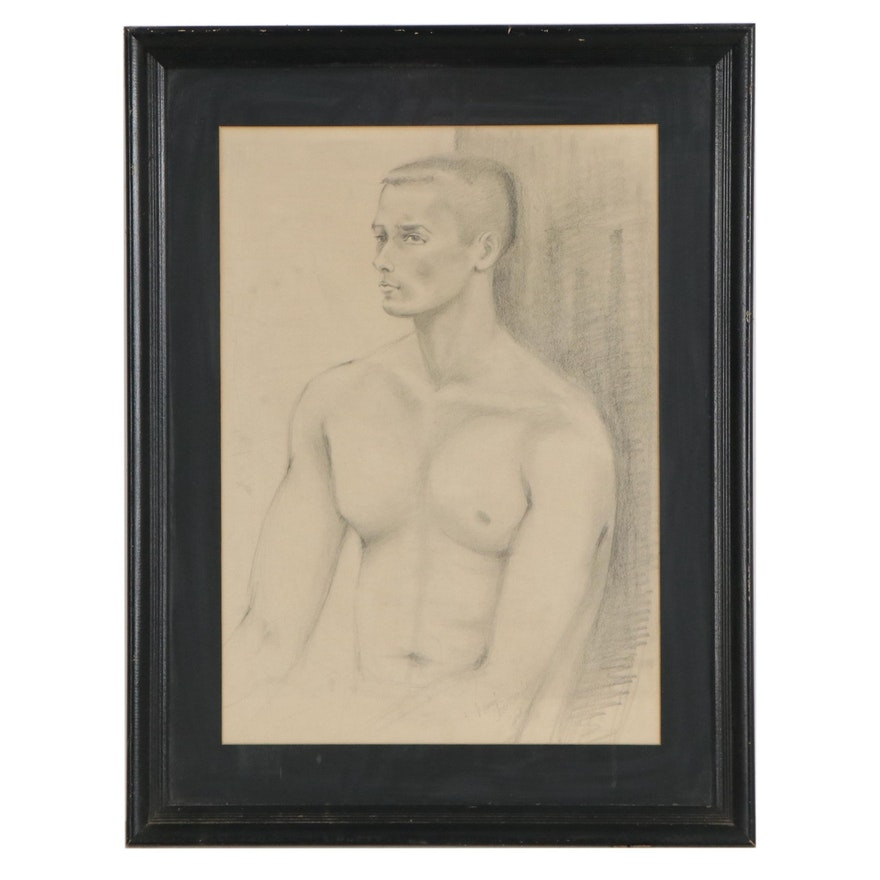 Figurative Graphite Drawing of Young Man