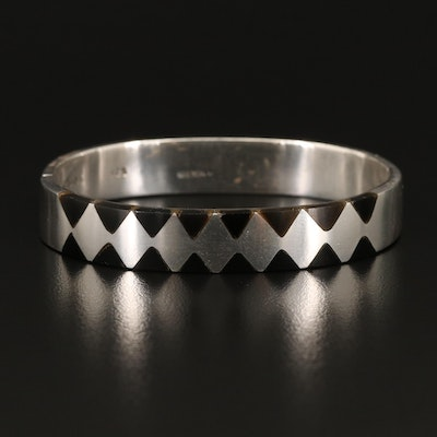 Mexican Sterling Black Onyx Inlay Bangle