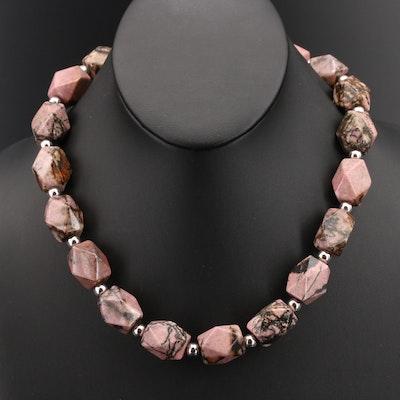 Sterling Rhodonite Beaded Necklace