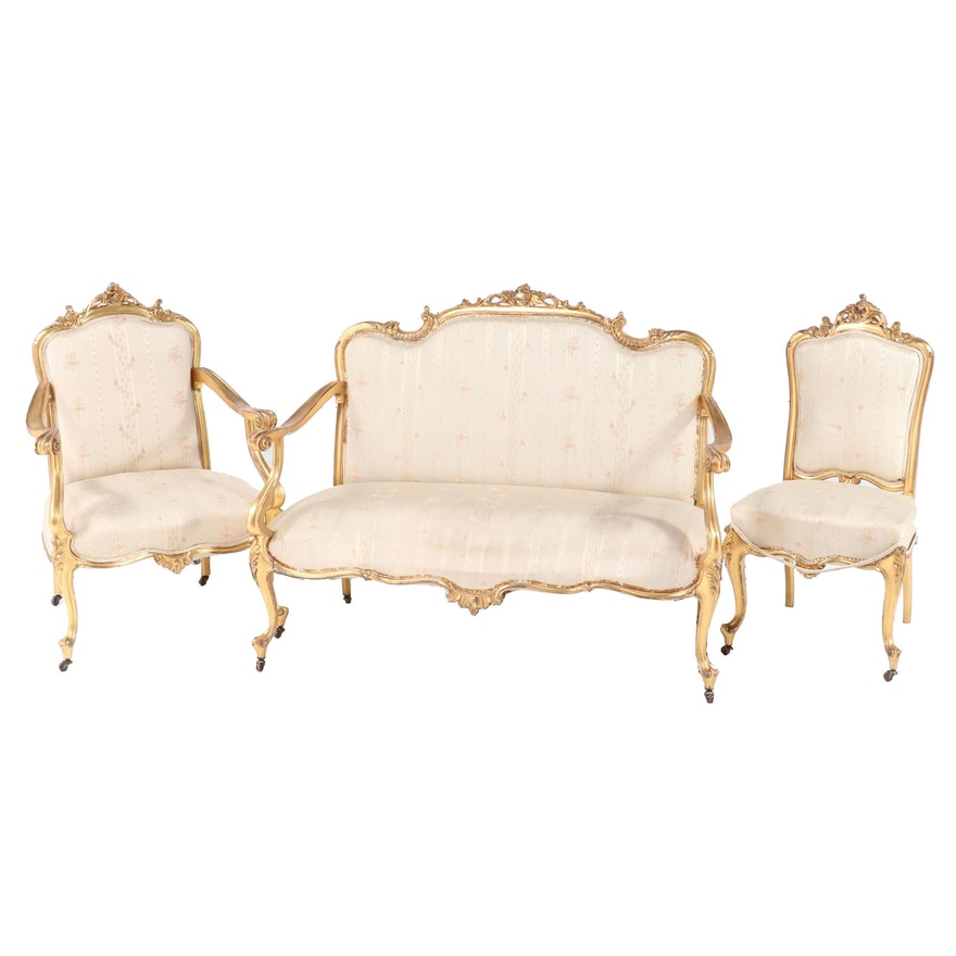 Three-Piece Louis XV Style Giltwood Salon Suite, Late 19th/Early 20th Century