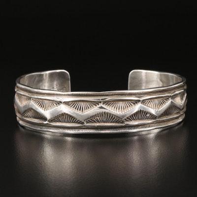 Vintage Lester Craig Navajo Diné Sterling Silver Stamped Pattern Cuff