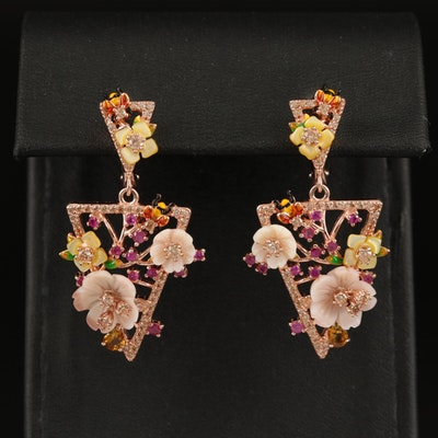 Sterling Giardinetti Earrings with Shell, Cubic Zirconia and Enamel