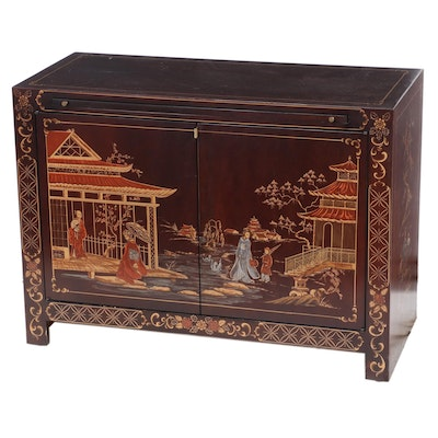 Painted, Parcel-Gilt, and Chinoiserie-Decorated Server, Mid-20th Century