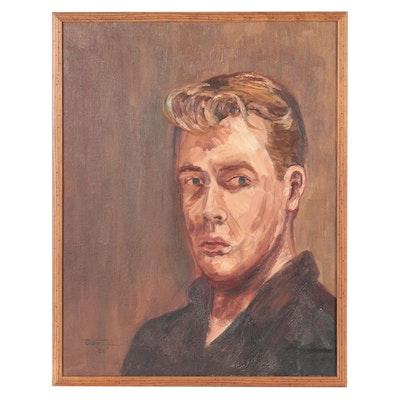 James DeVore Portrait Oil Painting of Young Man, 1959