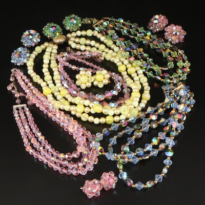 Vintage Earring and Necklace Sets Featuring Laguna and Aurora Borealis Crystal