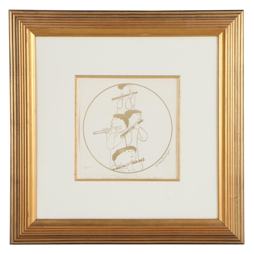 Embossed Gold Tone Lithograph After Graciela Rodo Boulanger