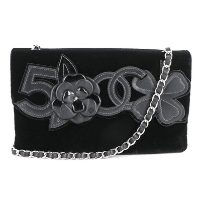 Chanel Camellia No. 5 Flap Bag in Black Velvet and Leather