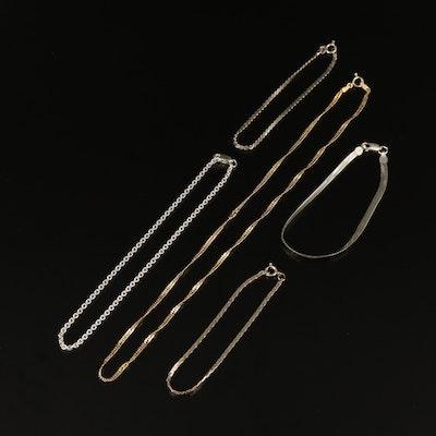 Sterling Chains Including Anklet, Bracelets and Necklace