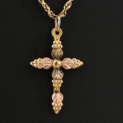 Landstrom's Black Hills Gold 10K Tri-Color Cross on 14K Rope Chain Necklace