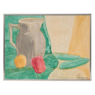 """N.E. Minard Still Life Oil Painting """"Colors From My Garden,"""" 1991"""