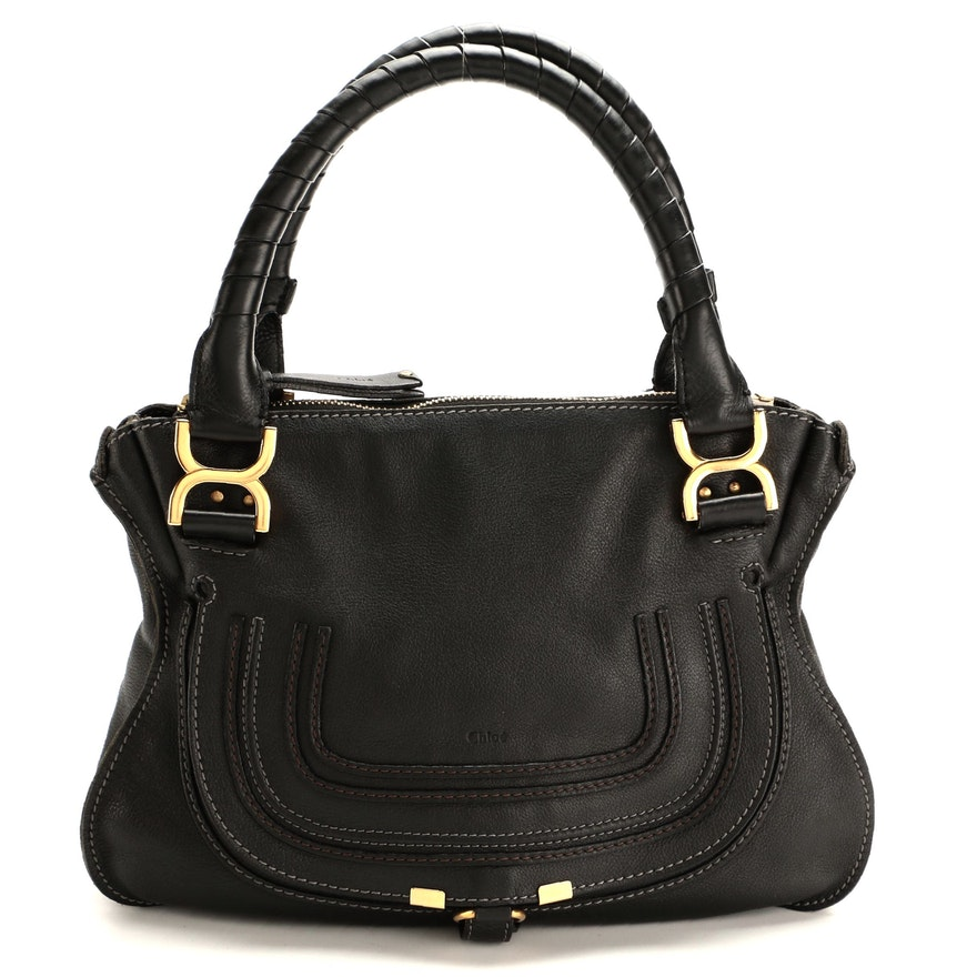 Chloé Marcie Black Leather Shoulder Bag