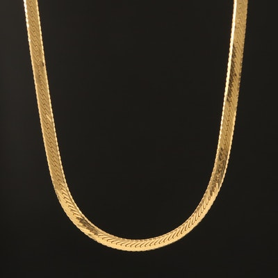 Italian 14K Herringbone Necklace
